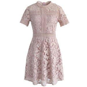 Crochet dress in pink